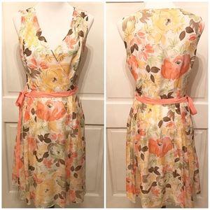 LOFT Silk Floral Pleated Sleeveless Dress Size 10